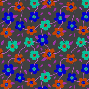 Floral Spring Delight! Bold colours on charcoal grey, large