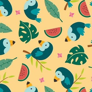 Tropical toucans - peach - large scale