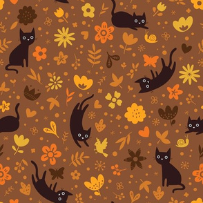 Cats frolicking in the garden - autumn - large scale