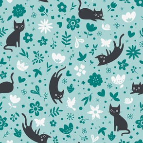 Cats frolicking in the garden - turquoise - large scale