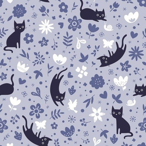 Cats frolicking in the garden - lavender - large scale
