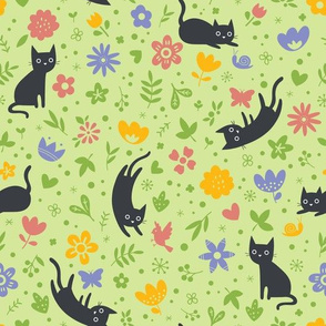 Cats frolicking in the garden - spring - large scale