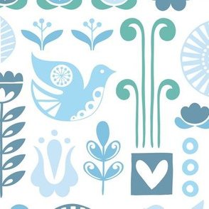 Scandi birds - frost - large scale