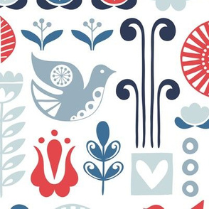 Scandi birds - red & blue - large scale