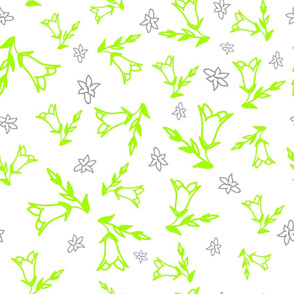 Fluorescent green Bellflower pattern on white