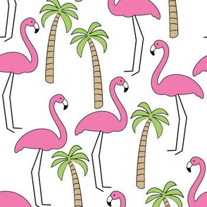 flamingos and palm trees