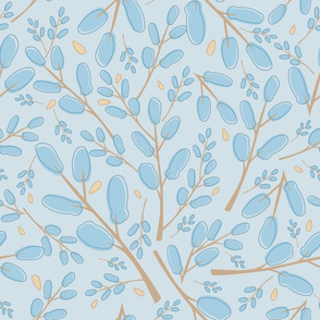 Cute brown branches and small blue leaves seamless pattern