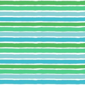 "6"" Blue and Green Summer Stripes"