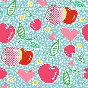 "6"" Cherries with Sprinkles in Light Aqua"