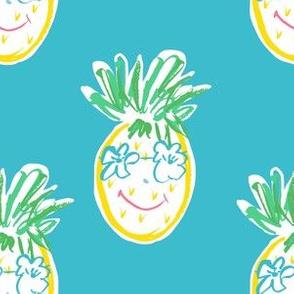 "6"" Summer Pineapple in Aqua"