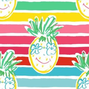 """6"""" Summer Pineapple with Stripes"""
