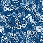 Classic blue papercut roses/medium scale