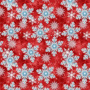 Red Blue Snowflake Pattern Winter