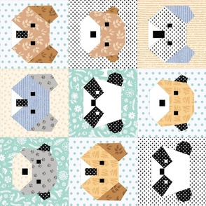 Origami Bears Cheater Quilt rotated