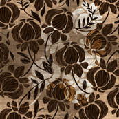 Brown Floral Textured