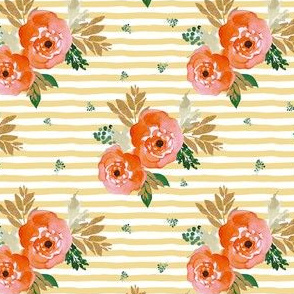"4"" Bright Coral Florals and Gold with Yellow Stripes"
