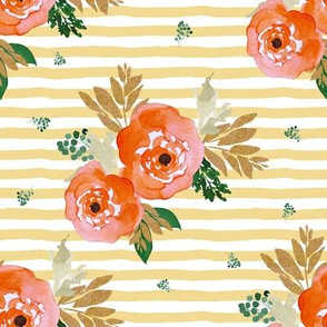 "8"" Bright Coral Florals and Gold with Yellow Stripes"