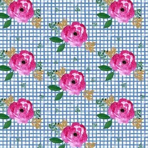 "4"" Bright Pink Flowers Blue Squares"