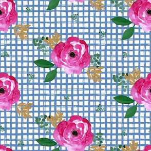 "8"" Bright Pink Flowers Blue Squares"