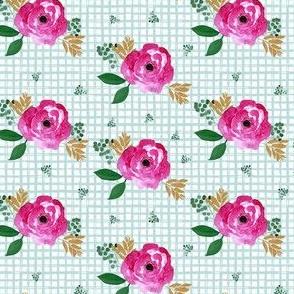 """4"""" Bright Pink Flowers Aqua Squares"""