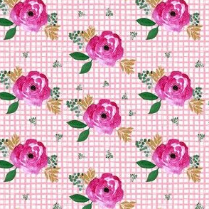 "4"" Bright Pink Flowers Pink Squares"