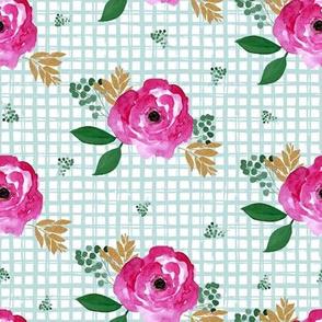 """8"""" Bright Pink Flowers Aqua Squares"""