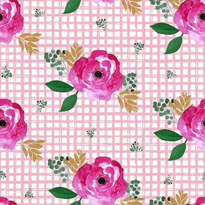 """8"""" Bright Pink Flowers Pink Squares"""