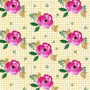 "4"" Bright Pink Flowers Yellow Squares"