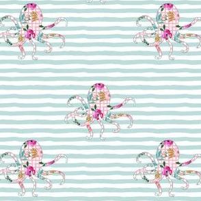 "4"" Floral Octopus with Aqua Stripes"