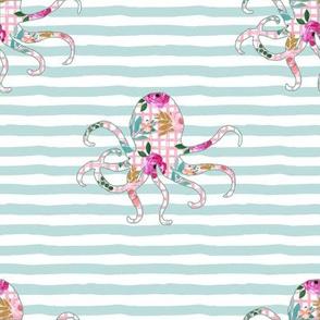 "8"" Floral Octopus with Aqua Stripes"