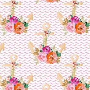 """4"""" Floral Pink Anchor"""