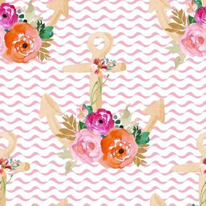 """8"""" Floral Pink Anchor"""