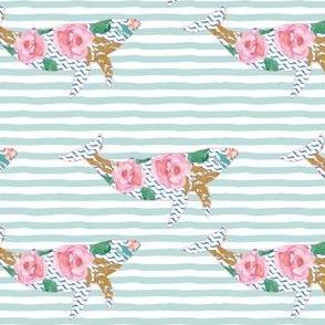 """4"""" Floral Pink Sea Pink Trim Aqua Stripes"""