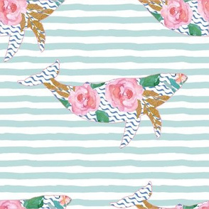 """8"""" Floral Pink Sea Pink Trim Aqua Stripes"""