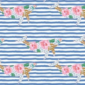 "4"" Floral Pink Sea Pink Trim with Blue Stripes"