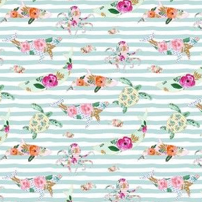 "4"" Floral Sea Life with Aqua Stripes"