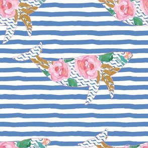 "8"" Floral Pink Sea Pink Trim with Blue Stripes"