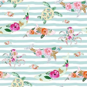 "8"" Floral Sea Life with Aqua Stripes"