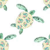"""4"""" Floral Sea Turtle with Green Trim"""