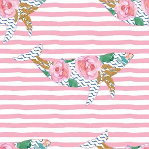 """8"""" Floral Pink Sea Pink Trim with Pink Stripes"""