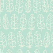 Feathers - turquoise and cream white