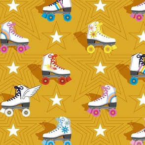 Good Times* (Gold Marilyn)    roller skates skating disco stars rainbow heart 70s 80s mustard