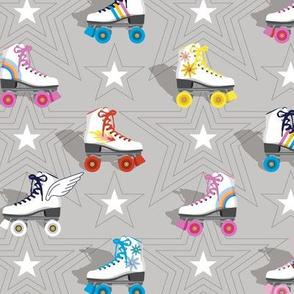 Good Times* (Silkscreen)    roller skates skating disco stars rainbow heart 70s 80s pastel