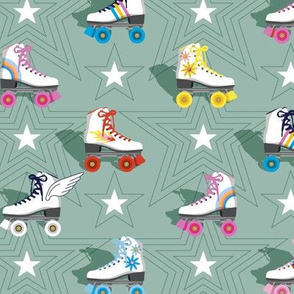 Good Times* (Camouflage)    roller skates skating disco stars rainbow heart 70s 80s