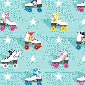 Good Times* (Polymer)    roller skates skating disco stars rainbow heart 70s 80s pastel