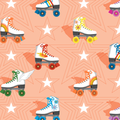 Good Times* (Multicolored Peach Halves)    roller skates skating disco stars rainbow heart 70s 80s living coral pastel