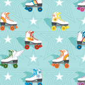 Good Times* (Multicolored Polymer)    roller skates skating disco stars rainbow heart 70s 80s pastel