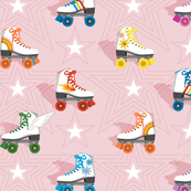 Good Times* (Multicolored Pink Cow)    roller skates skating disco stars rainbow heart 70s 80s pastel