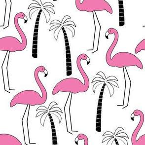 flamingos with black and white palm trees