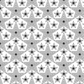 Shining Star (Black on White) || stars geometric superstar disco 70s 80s pop art